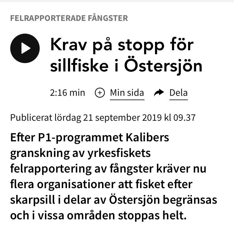 Radio: Krav på stopp för sillfiske i Östersjön