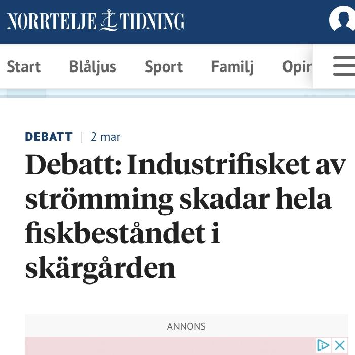 Norrtälje tidning Debatt: Industrifisket av strömming skadar hela fiskbeståndet i skärgården