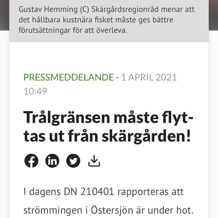 Centerpartiet Stockholm: Trålgränsen måste flyttas ut från skärgården!