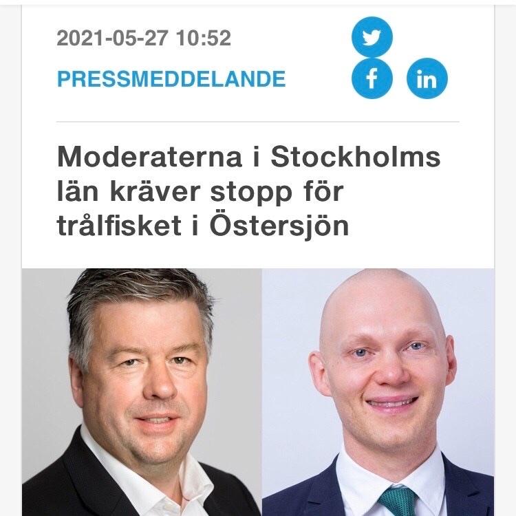 Moderaterna i Stockholms län kräver stopp för trålfisket i Östersjön