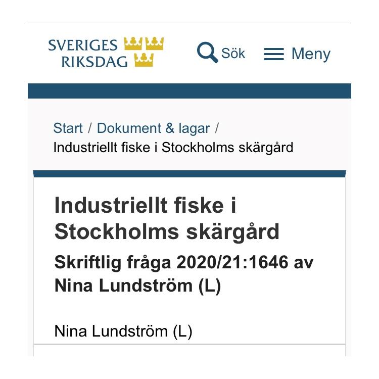 Skriftlig fråga till Jennie Nilsson från Liberalerna om Industriellt fiske i Stockholms skärgård